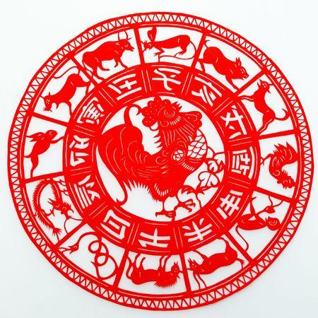 gallo: Gallo, el corte de papel. El zodiaco chino.