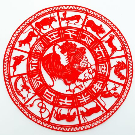 Rooster,The paper cutting. The Chinese Zodiac.