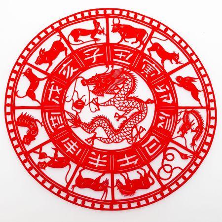 tijeras cortando: Dragon, el corte de papel. El zodiaco chino. Foto de archivo