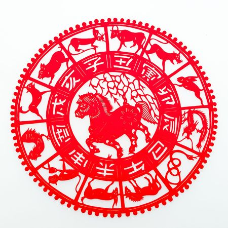 one year: horse,The paper cutting. The Chinese Zodiac. Stock Photo