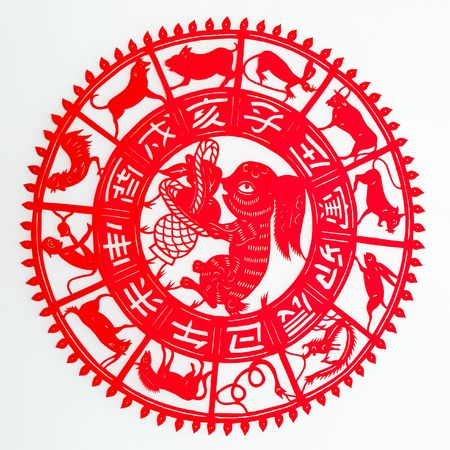 burrowing: hare, The paper cutting. The Chinese Zodiac.