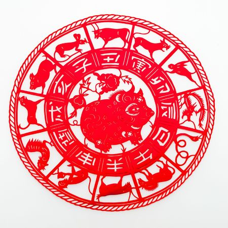 pig, The paper cutting. The Chinese Zodiac.