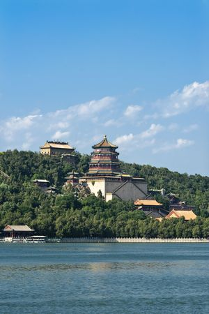 longevity:  Longevity Hill.Mainstay of the Summer Palace garden, with various traditional architectural structures, including the Tower of the Fragrance of the Buddha, overlooking the Kunming Lake. Stock Photo