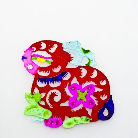 Rabbit,This is a picture of the Chinese paper cutting. Paper-cutting is one of the traditional Chinese arts and crafts. photo