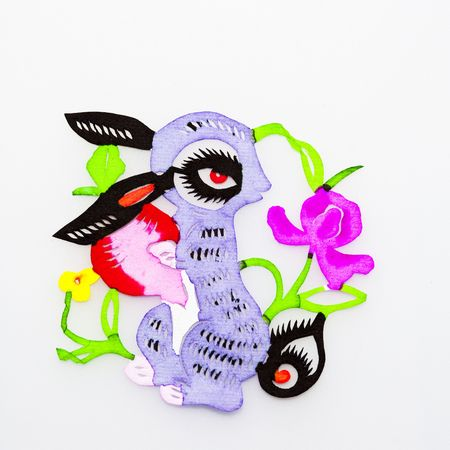 Rabbit, This is a picture of the Chinese paper cutting. Paper-cutting is one of the traditional Chinese arts and crafts. photo