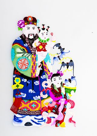 God of Happiness.This is the Chinese colored paper-cutting, a symbol of a God who brings luck and happiness to everybody. photo