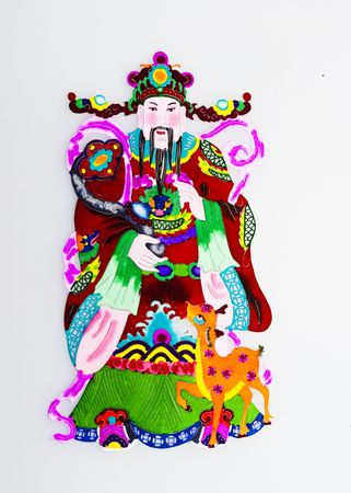 God of Prosperity.This is the Chinese colored paper-cutting, a symbol of God of Prosperity, who helps people get promoted at work and get wealthy. photo