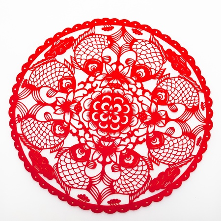paper cutting: Chinese traditional paper-cutting.carp Stock Photo