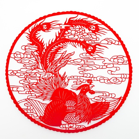auspicious element: Phoenix .Chinese traditional paper-cutting Stock Photo