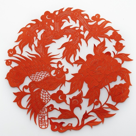 Phoenix and Peony.Chinese traditional paper-cutting Stock Photo