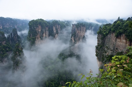quartzite:  Geology and Landscape of Zhangjiajie A World Natural Heritage in South China, Zhangjiajie is consisted of more than 3,000 quartz sandstone pillars, and many Karst caves   Stock Photo