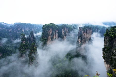 Geology and Landscape of Zhangjiajie A World Natural Heritage in South China, Zhangjiajie is consisted of more than 3,000 quartz sandstone pillars, and many Karst caves   Stock Photo