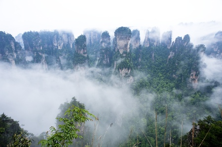 Natural Scenery of Zhangjiajie A World Natural Heritage in South China, Zhangjiajie is consisted of more than 3,000 quartz sandstone pillars, and many Karst caves   Stock Photo