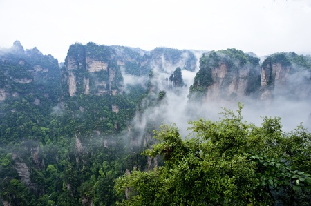 world natural heritage: Natural Scenery of Zhangjiajie A World Natural Heritage in South China, Zhangjiajie is consisted of more than 3,000 quartz sandstone pillars, and many Karst caves   Stock Photo