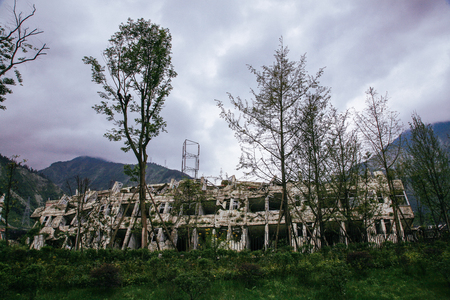 Memorial to Sichuan earthquake victims in Yingxiu, China Imagens - 98563947