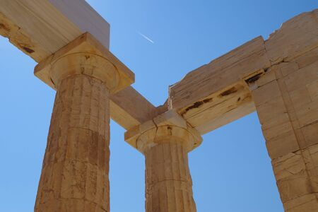Looking up at the Parthenon in Athens, Greece