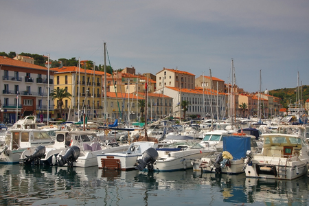 port vendres: Parked boats. Port Vendres. France. June 13, 2015