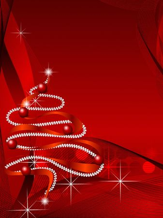 Abstract Christmas tree on the red background.
