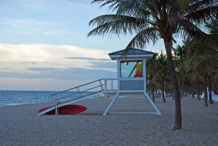 Lifeguard station on a deserted beach in Florida at sunset.