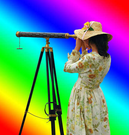 Girl in fancy dress and hat looking through telescope with background of rainbow colors.