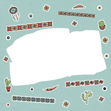 Vector illustration, handmade template in native american style. Ornament, drawings, accessories. Foto de archivo - 141879417
