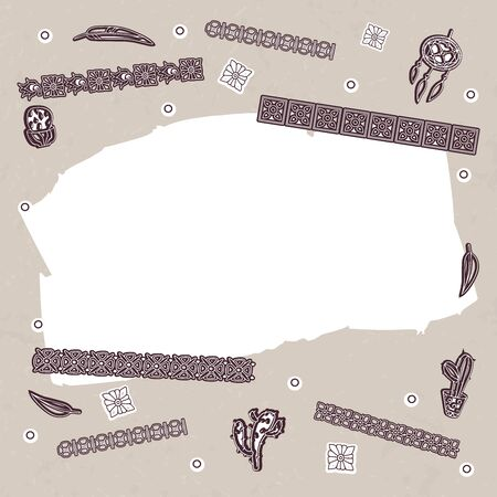 Vector illustration in beige-brown colors with Mayan symbols. Template and pattern. For postcards, for flyers for printing on fabric.