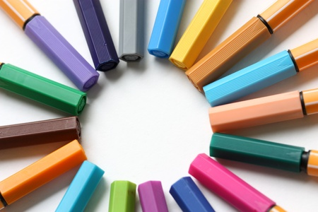fiber tipped: markers  on a white background