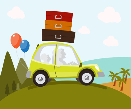 grass family: Family in the car with luggage and balloons on vacation. Illustration