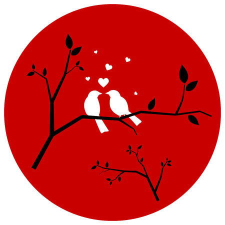 couple lit: Couple of Love Birds love on branch - love and romance