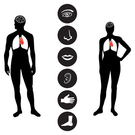 using mouth: Human male and female body outline with icons of various human body parts.