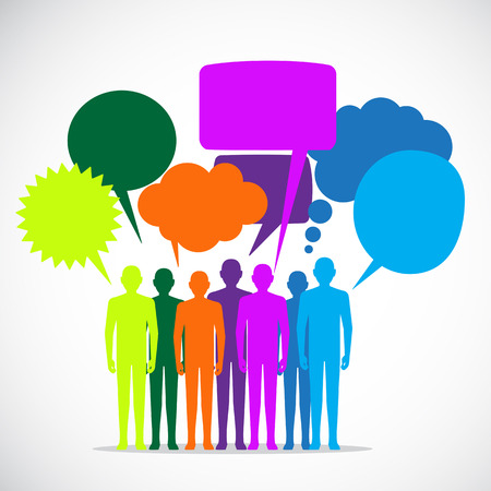 medium group of people: Colorful people converses by colorful dialog speech bubbles