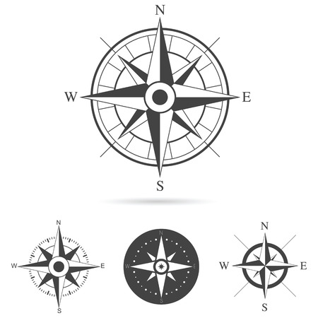 physical geography: Collection of compass rose design - Vector illustration Illustration