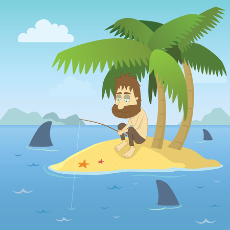 castaway: illustration of a shipwrecked person who has found himself stranded on a desert island with no chance of escape.