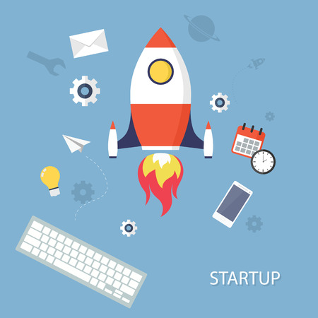 Vector concept of new business project start-up development and launch a new innovation product on a market. Isolated vector illustration. Illustration