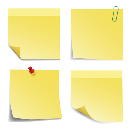 sticky notes: Yellow sticky notes on white background. Illustration