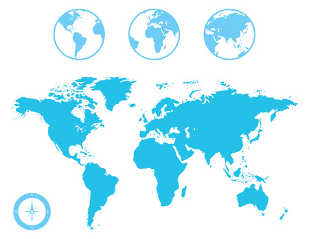 Vector World Map and Globe with Compass Icon Vector