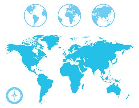 wereldbol: Vector World Map en Globe met kompaspictogram
