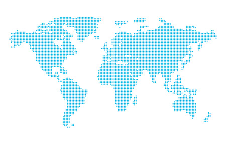 Abstract computer graphic dotted world map. Vector illustration. Stock Illustratie