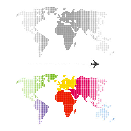 asia map: Color Dotted World Map Illustration