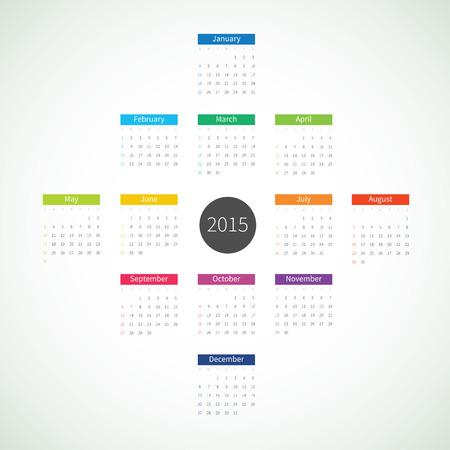 mon 12: Abstract 2015 Calendar Illustration