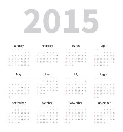 mon 12: Calendar 2015 Template