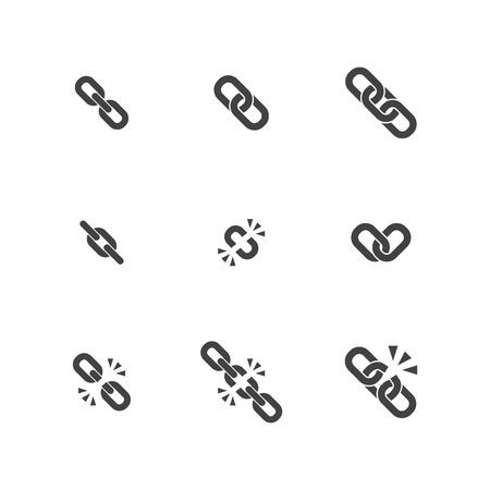 cadenas: Cadena Icono plana Colección Vectores