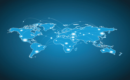global communication: World Map - Global Connection