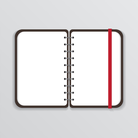 elastic band: Open Notebook with White Page and Elastic Band
