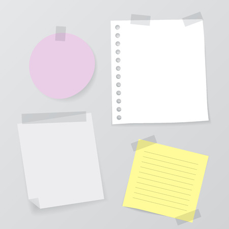 various: Set of Various Vector Note Papers Illustration