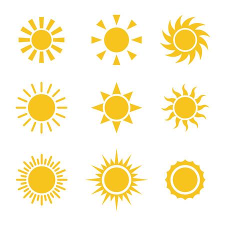 bright sun: Sun Color Icons Set Illustration