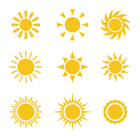 słońce: Sun Kolor zestaw ikon Ilustracja