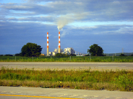 Electric Power Plant in a country setting