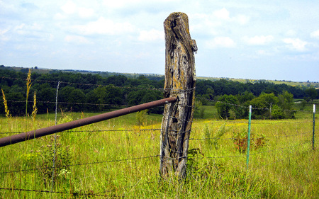 A fence post in southeast Kansas
