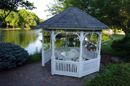 Gazebo in the backyard at the pond